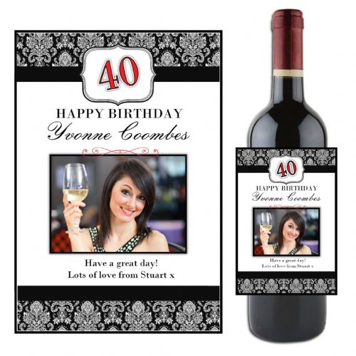 Personalised Black Floral Happy Birthday Wine / Champagne Bottle PHOTO Label N50